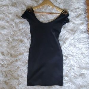 Charlotte Russe Little Black Dress Gold Spikes S